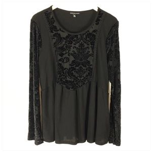 Black Long Sleeve Tunic with Velvet Flocking